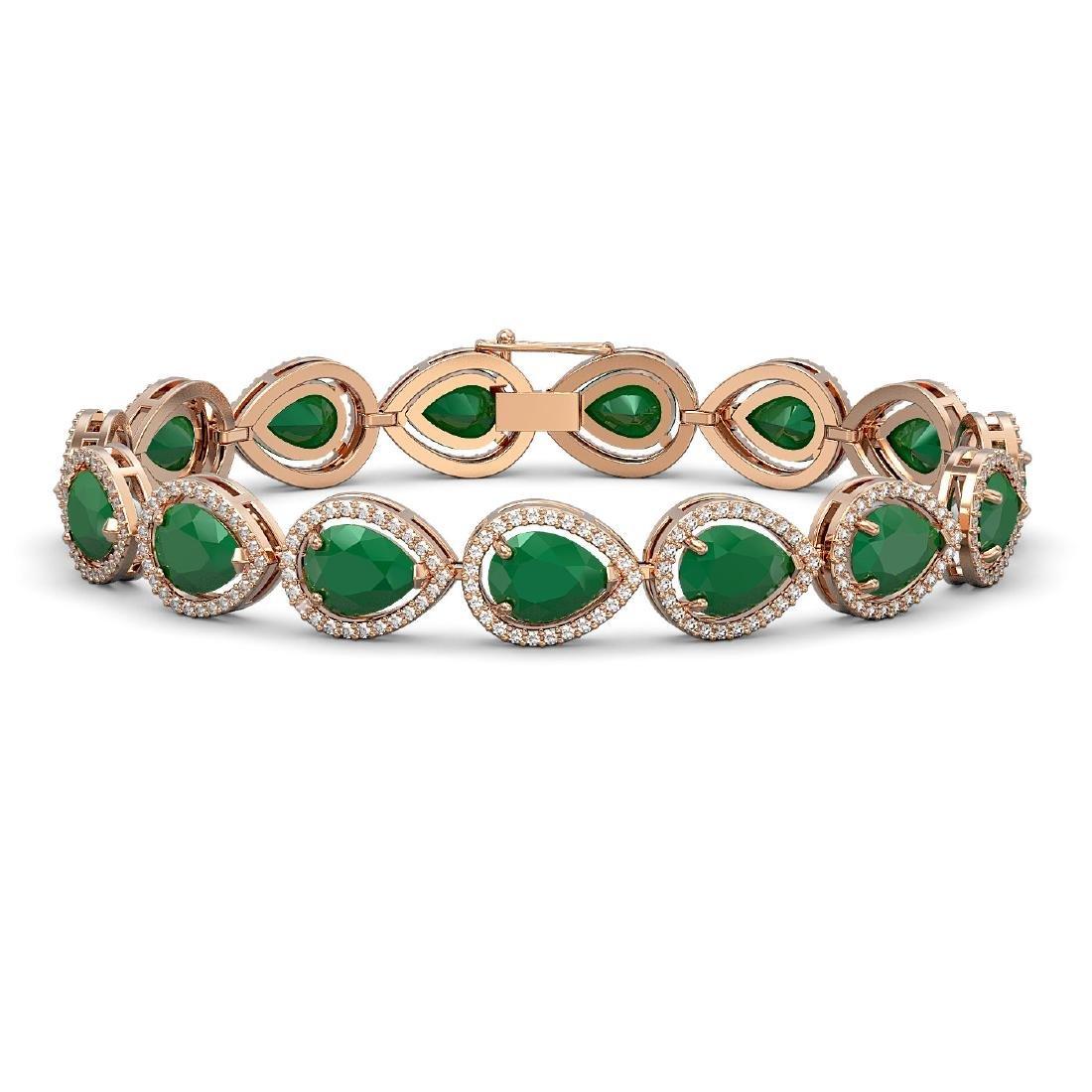 30.06 CTW Emerald & Diamond Halo Bracelet 10K Rose Gold