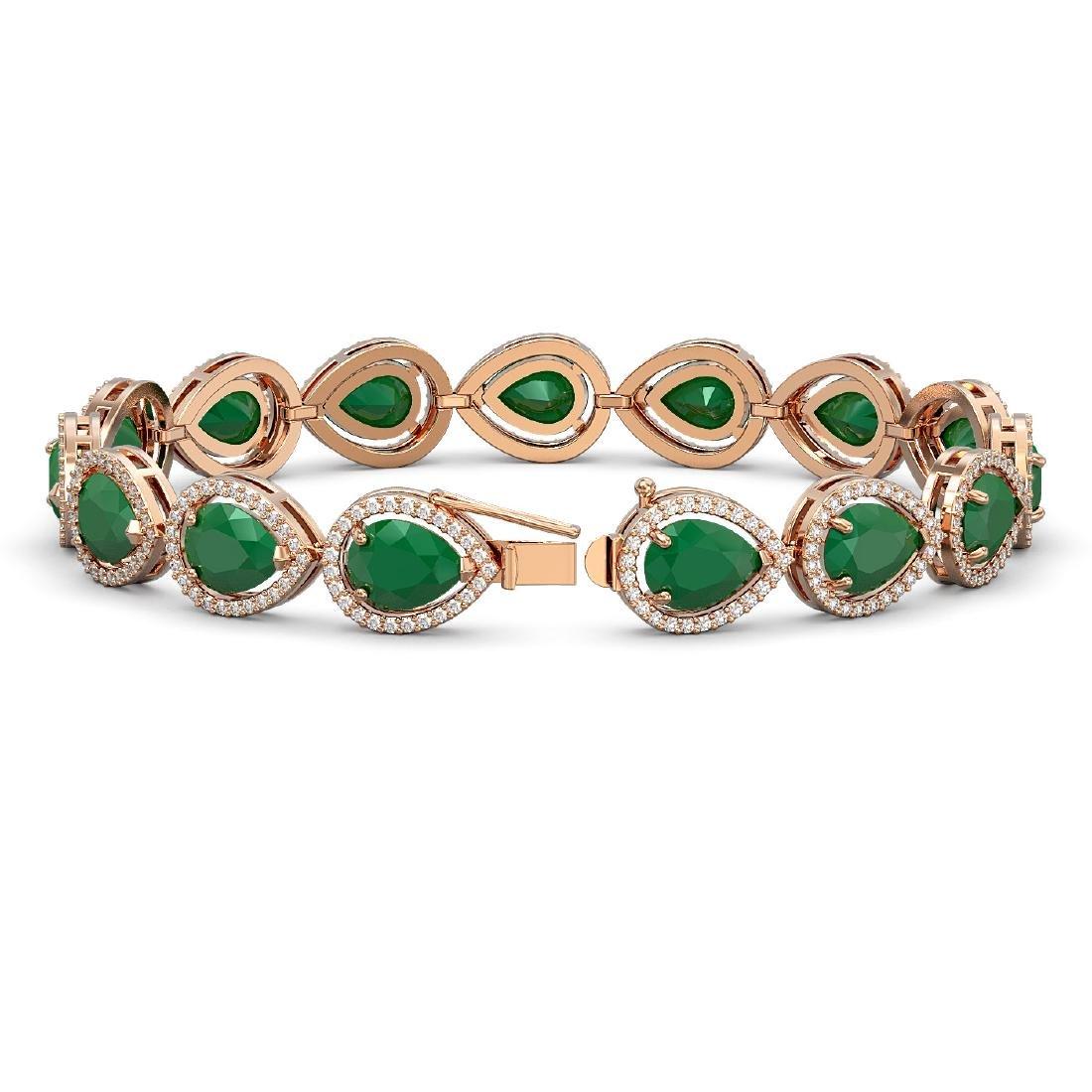 30.06 CTW Emerald & Diamond Halo Bracelet 10K Rose Gold - 2