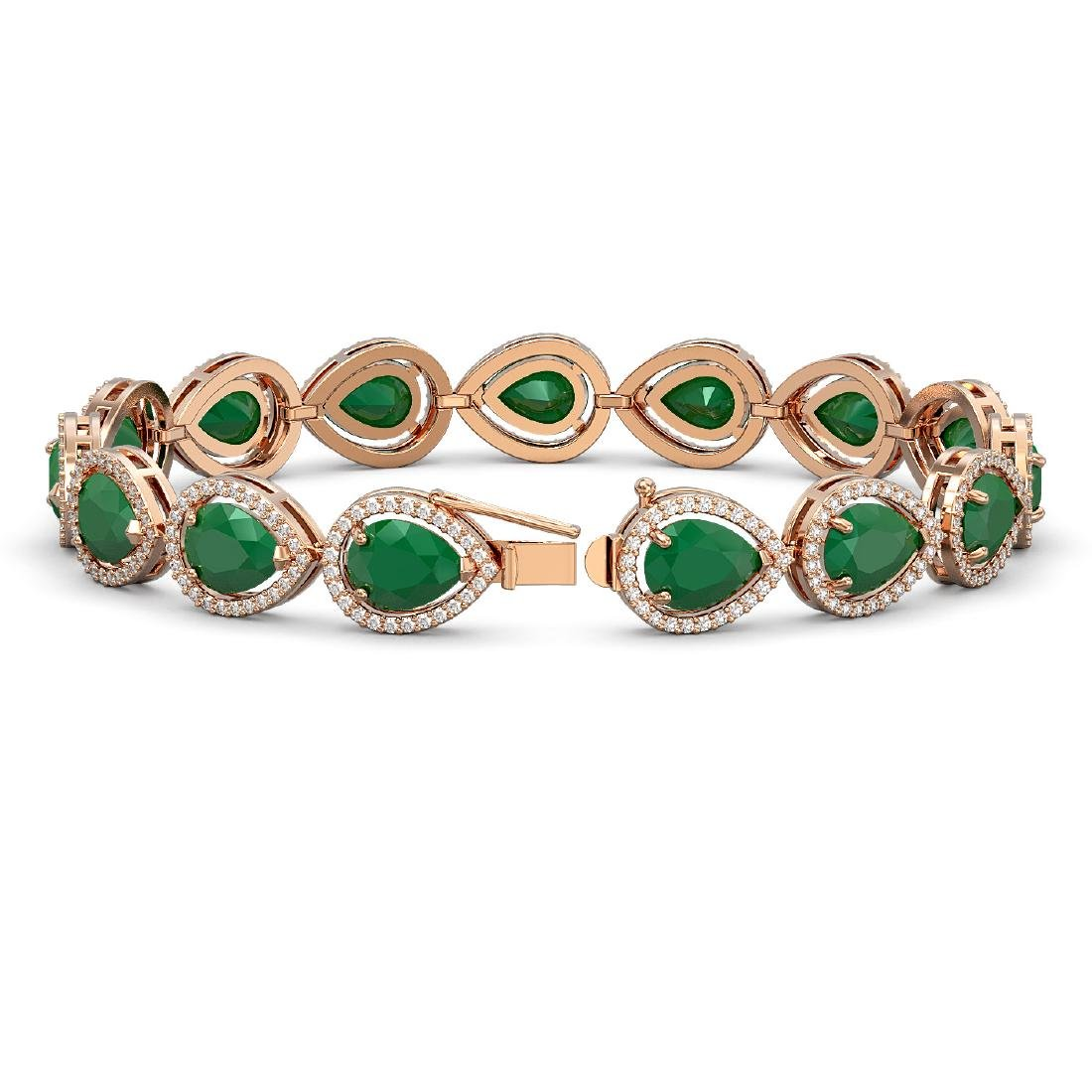 30.06 CTW Emerald & Diamond Halo Bracelet 10K Rose Gold - 2