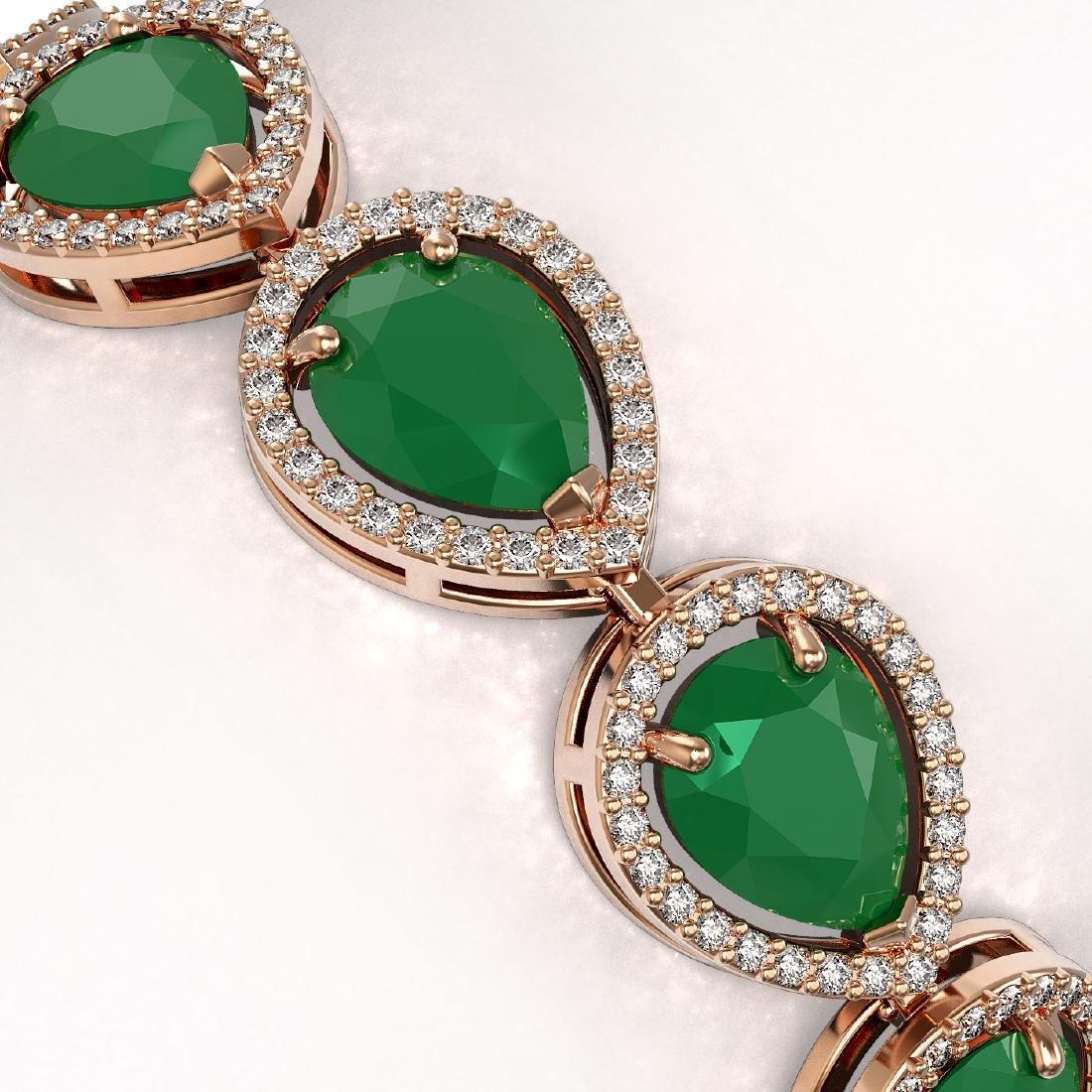 30.06 CTW Emerald & Diamond Halo Bracelet 10K Rose Gold - 3