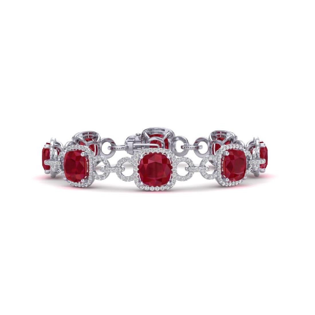 25 CTW Ruby & VS/SI Diamond Bracelet 14K White Gold