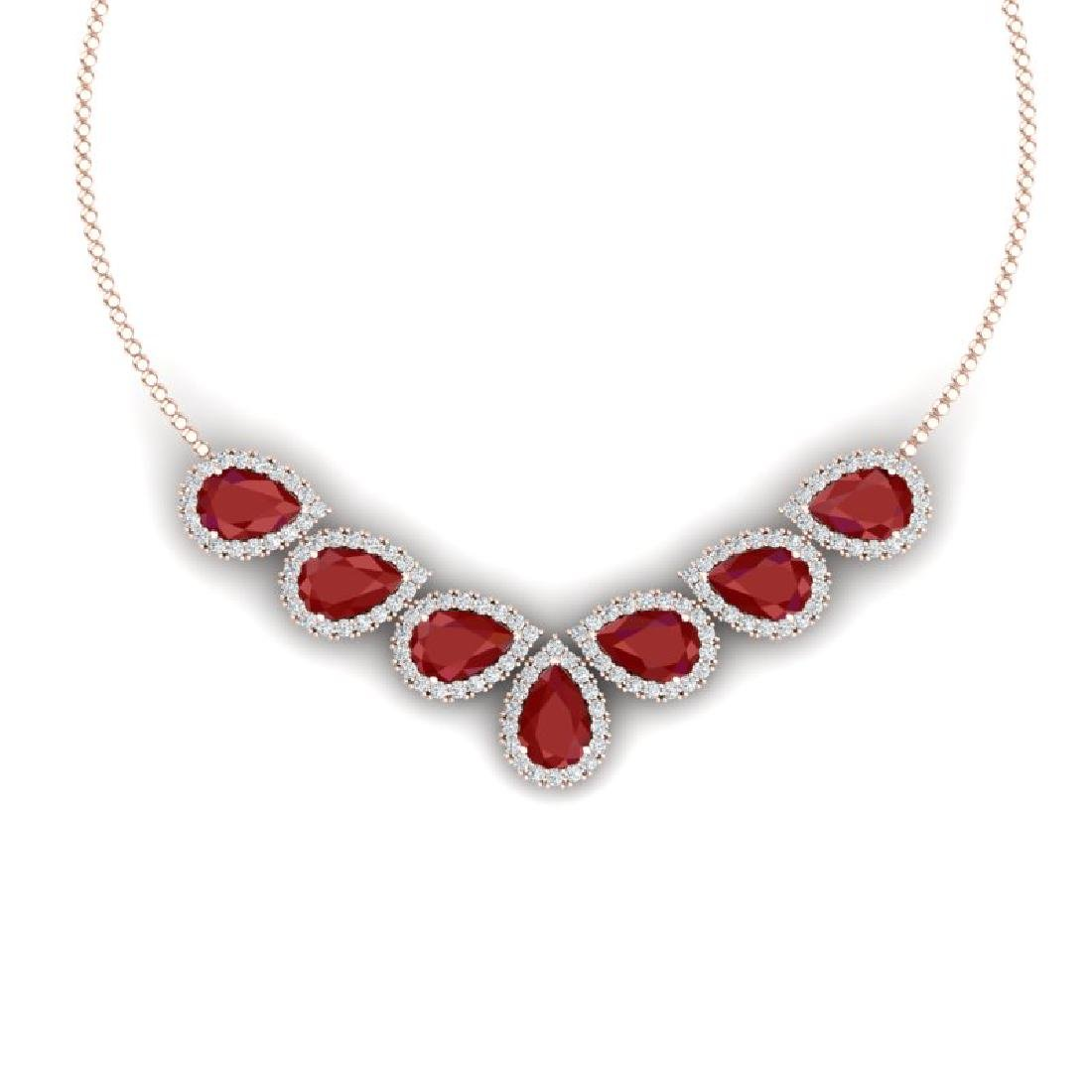 34.72 CTW Royalty Ruby & VS Diamond Necklace 18K Rose