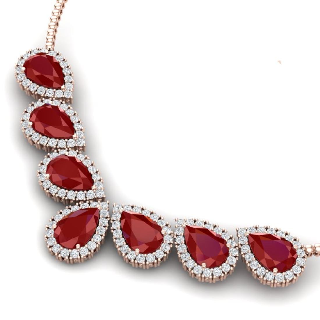 34.72 CTW Royalty Ruby & VS Diamond Necklace 18K Rose - 2