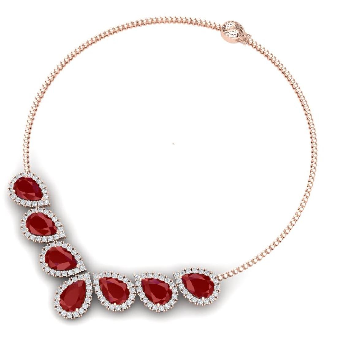 34.72 CTW Royalty Ruby & VS Diamond Necklace 18K Rose - 3