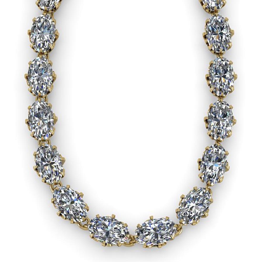 40 CTW Princess SI Certified Diamond Necklace 14K - 2