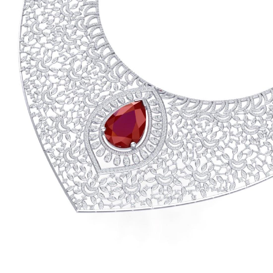 63.93 CTW Royalty Ruby & VS Diamond Necklace 18K White