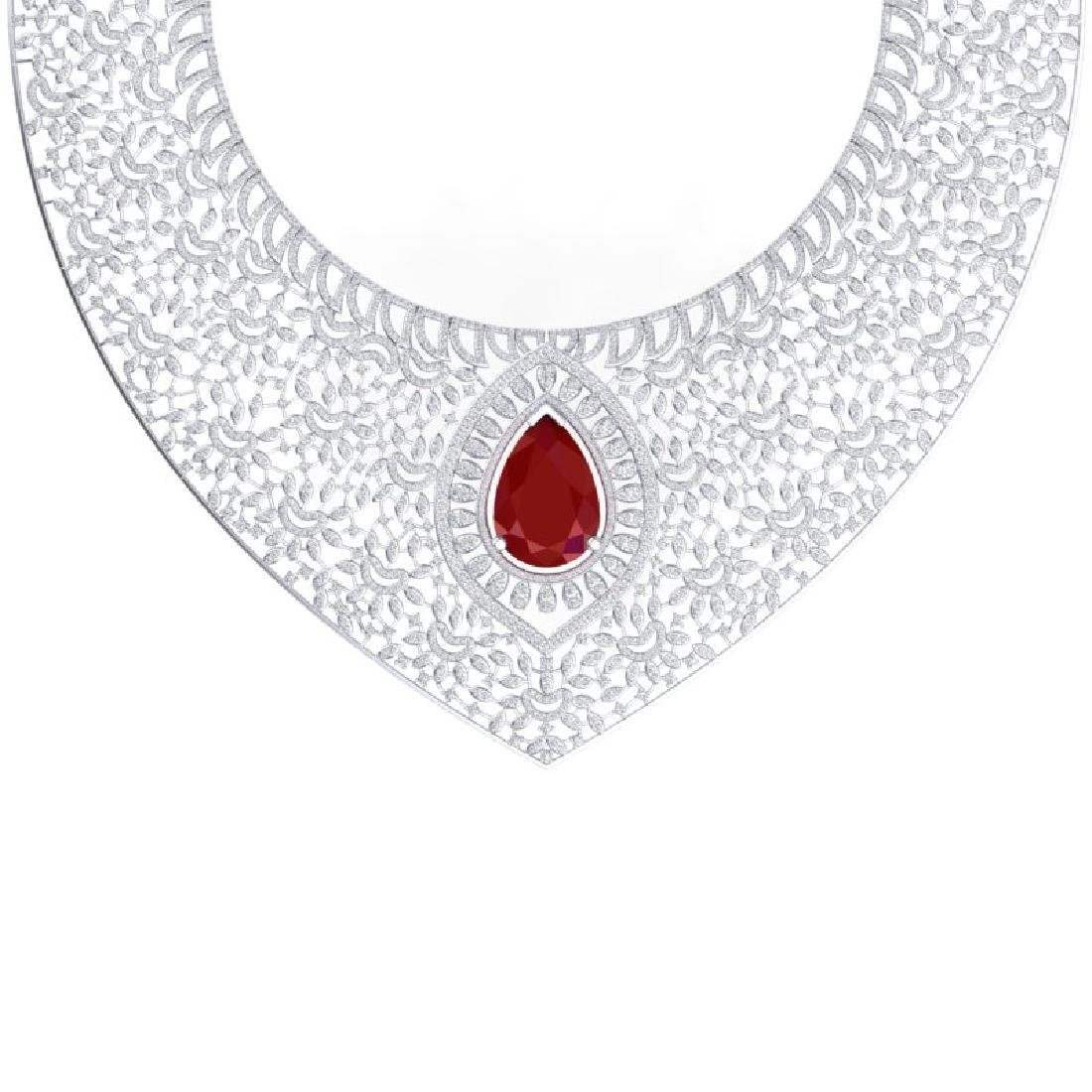 63.93 CTW Royalty Ruby & VS Diamond Necklace 18K White - 2