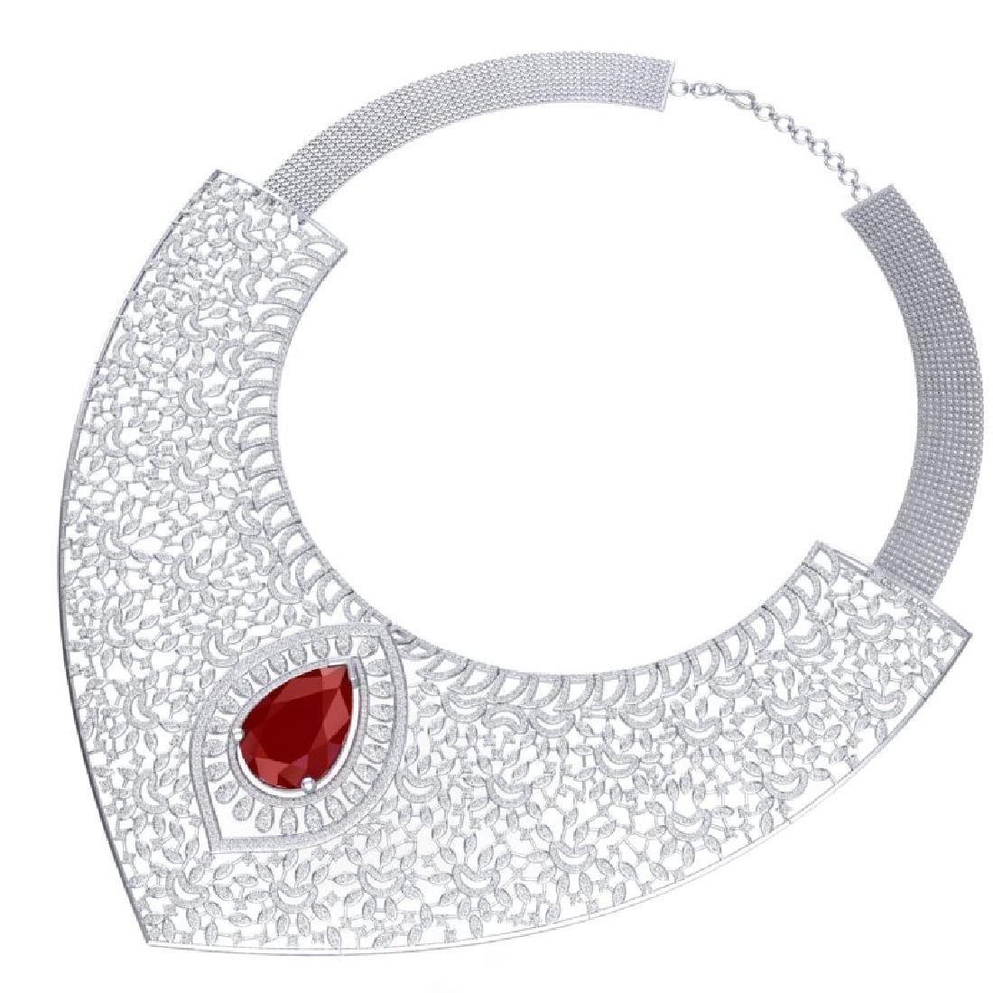 63.93 CTW Royalty Ruby & VS Diamond Necklace 18K White - 3