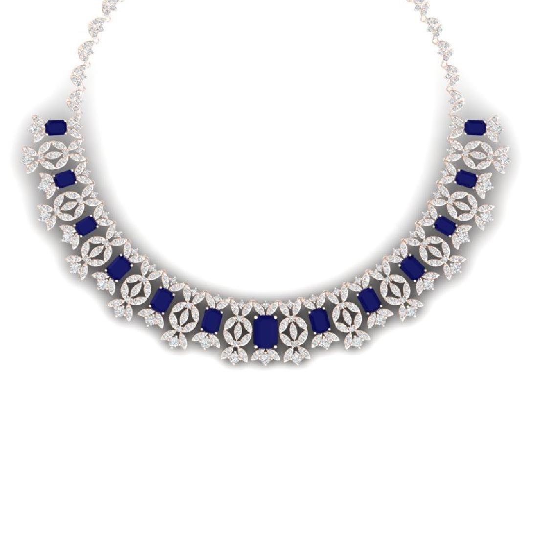 50.44 CTW Royalty Sapphire & VS Diamond Necklace 18K