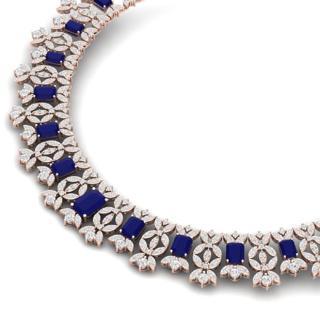 50.44 CTW Royalty Sapphire & VS Diamond Necklace 18K - 2