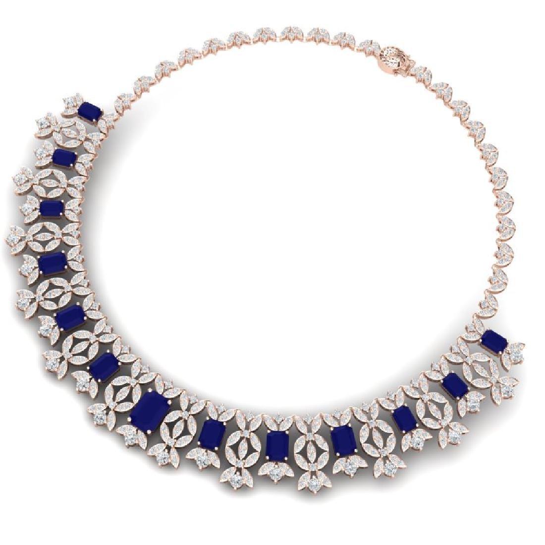 50.44 CTW Royalty Sapphire & VS Diamond Necklace 18K - 3