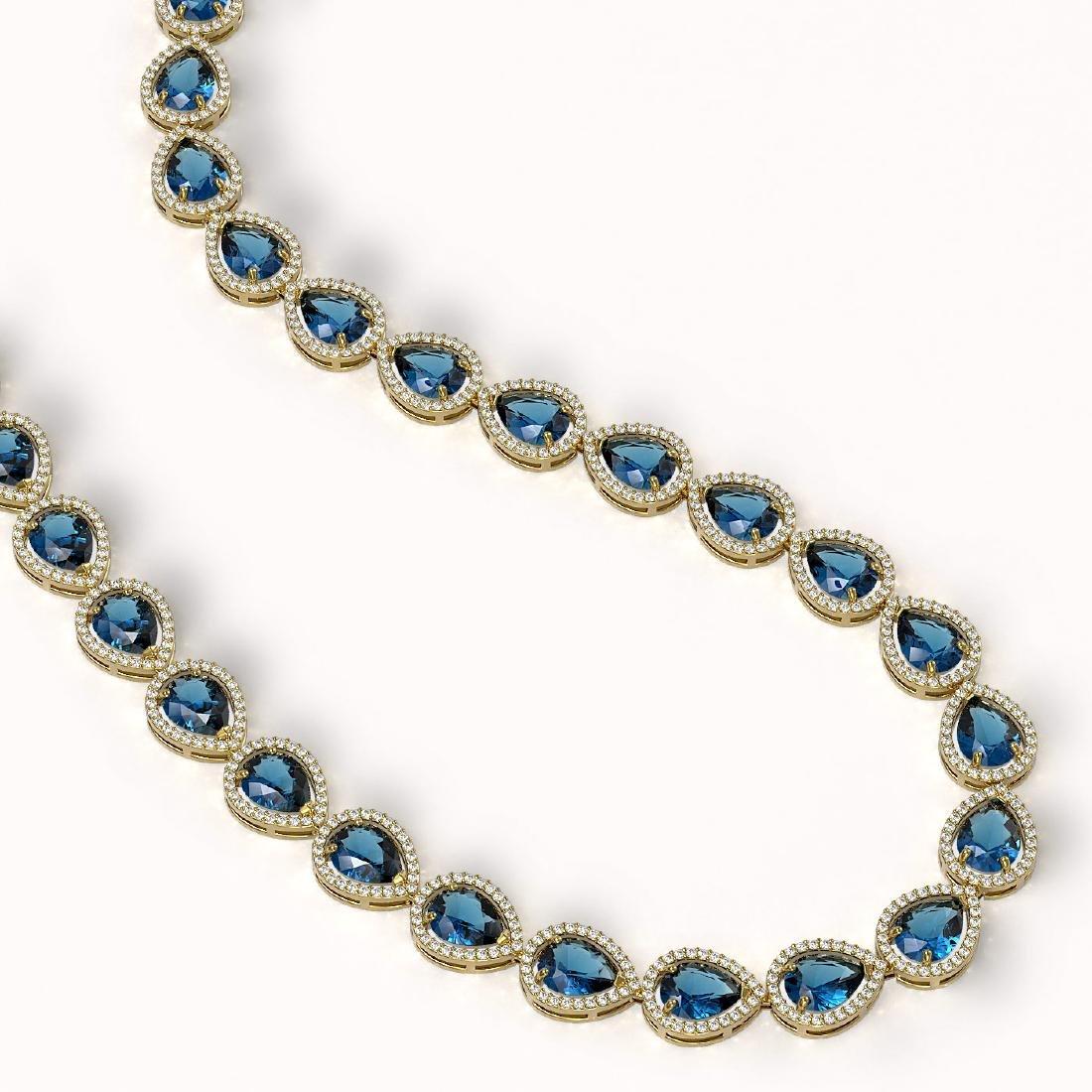 44.8 CTW London Topaz & Diamond Halo Necklace 10K - 2
