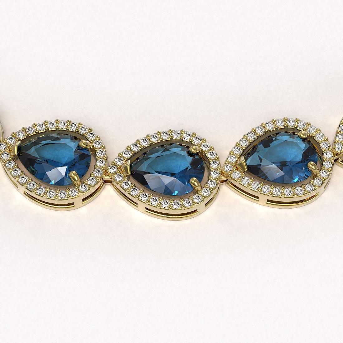 44.8 CTW London Topaz & Diamond Halo Necklace 10K - 3
