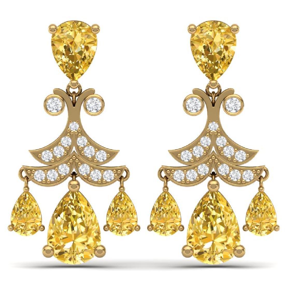 10.41 CTW Royalty Canary Citrine & VS Diamond Earrings