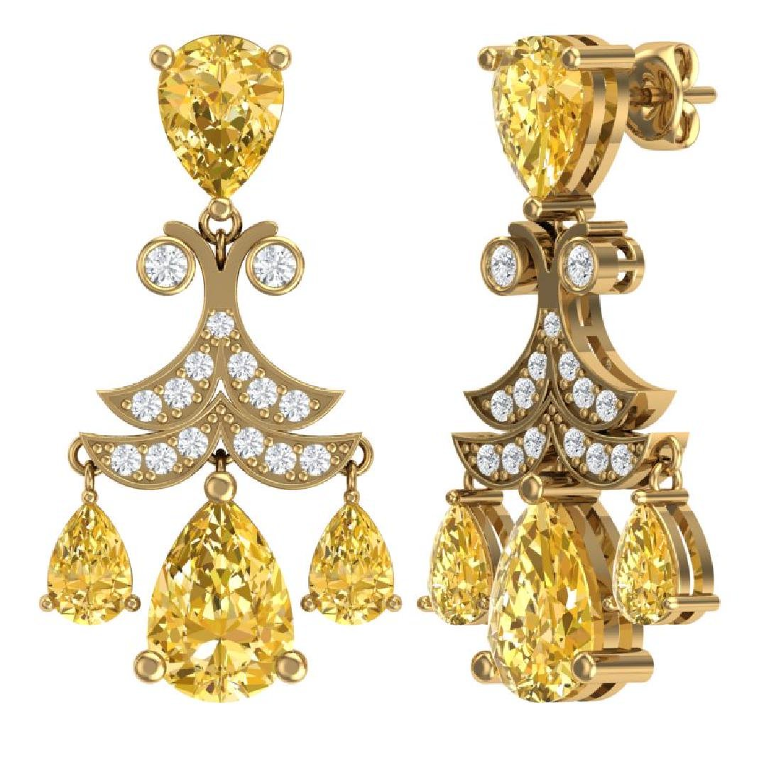 10.41 CTW Royalty Canary Citrine & VS Diamond Earrings - 3