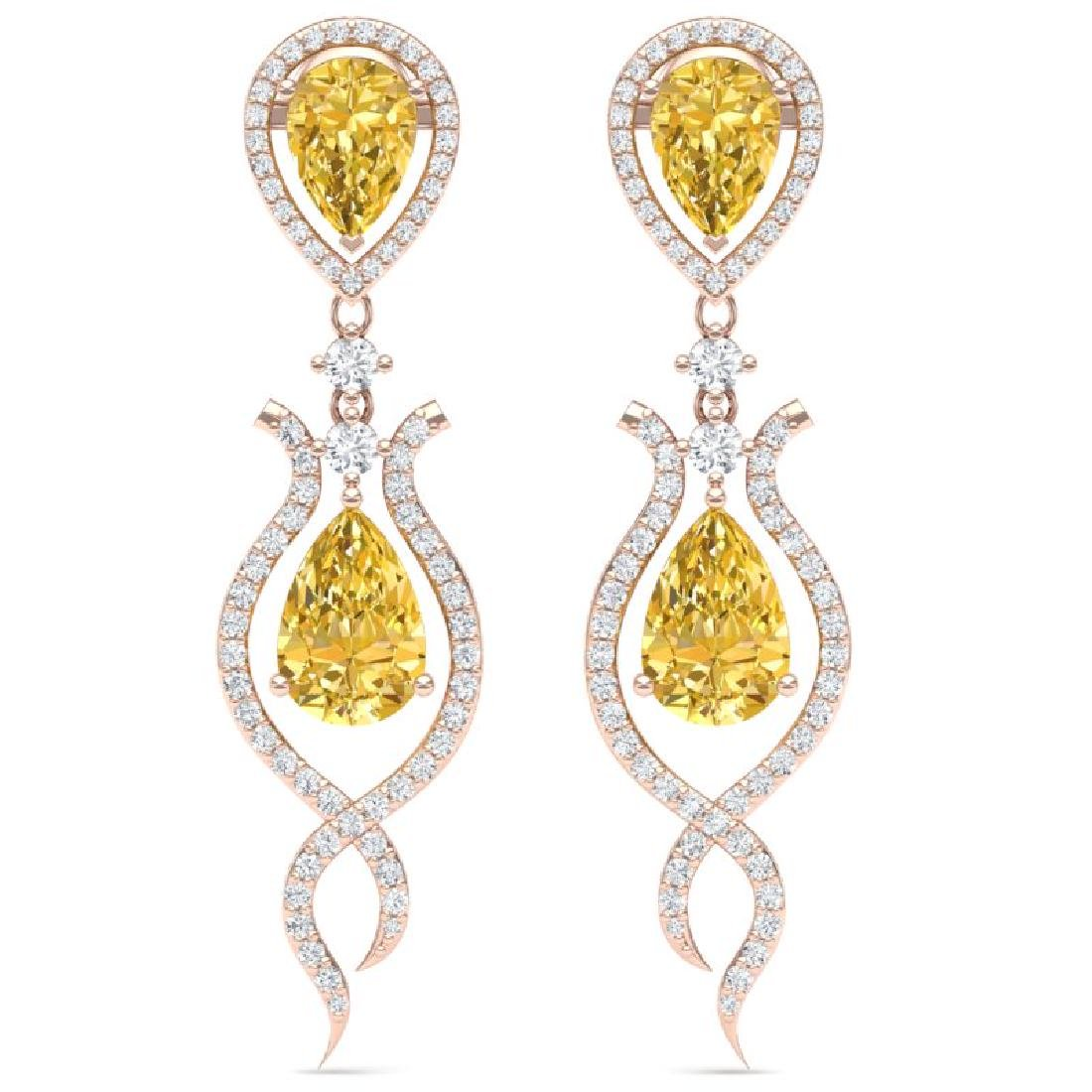 14.09 CTW Royalty Canary Citrine & VS Diamond Earrings