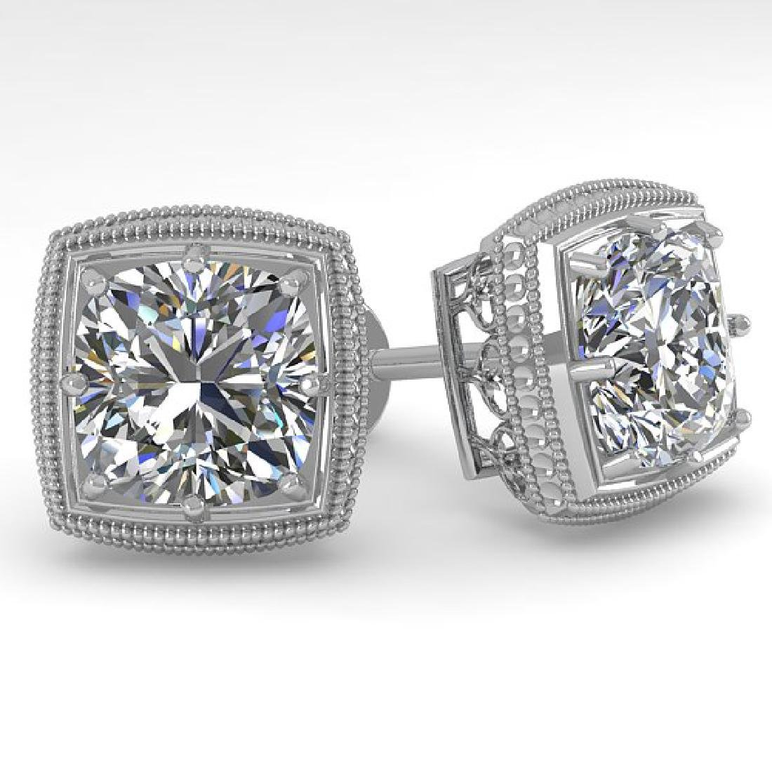 2 CTW VS/SI Cushion Cut Diamond Stud Earrings Deco 18K