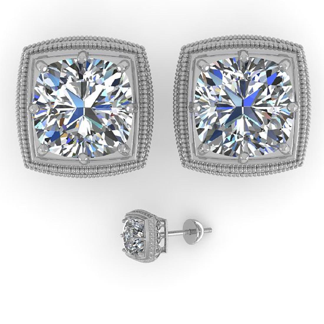 2 CTW VS/SI Cushion Cut Diamond Stud Earrings Deco 18K - 2