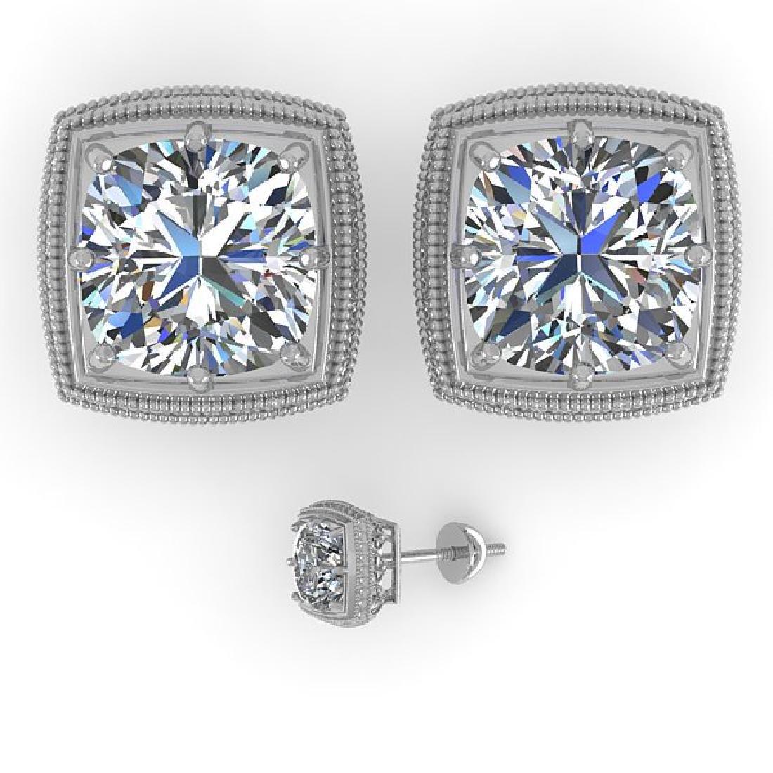 2 CTW VS/SI Cushion Cut Diamond Stud Earrings Deco 18K - 2