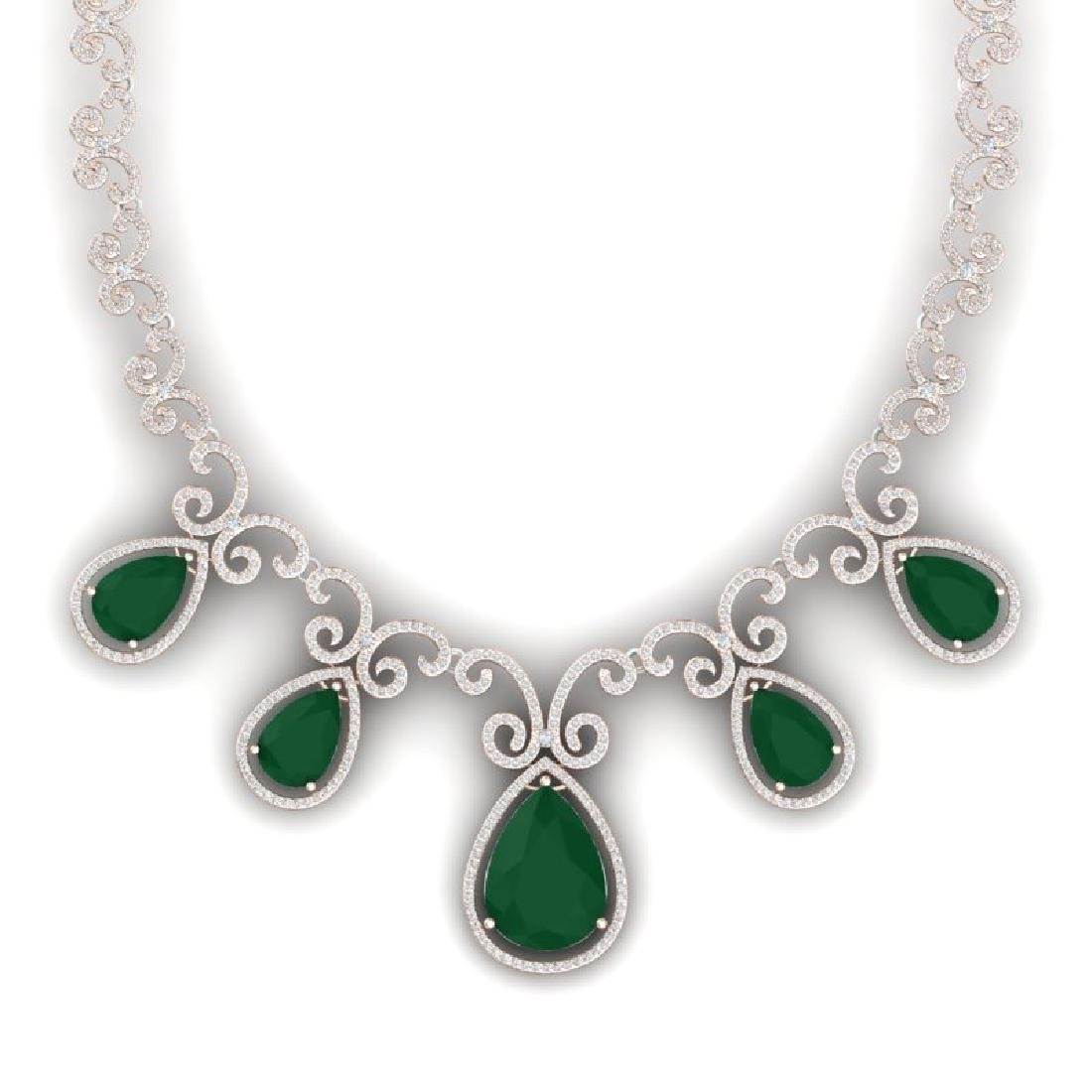 38.42 CTW Royalty Emerald & VS Diamond Necklace 18K