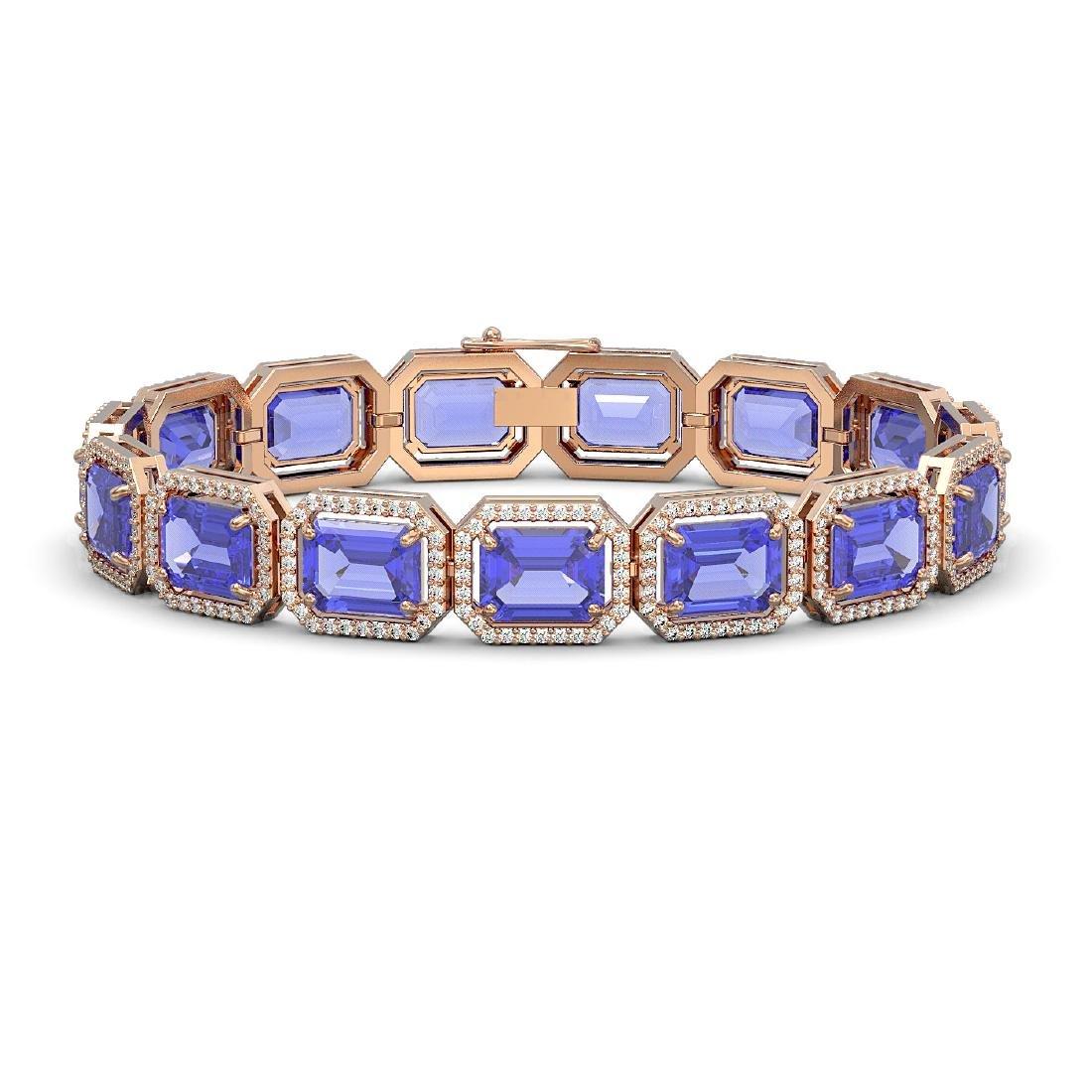 36.37 CTW Tanzanite & Diamond Halo Bracelet 10K Rose