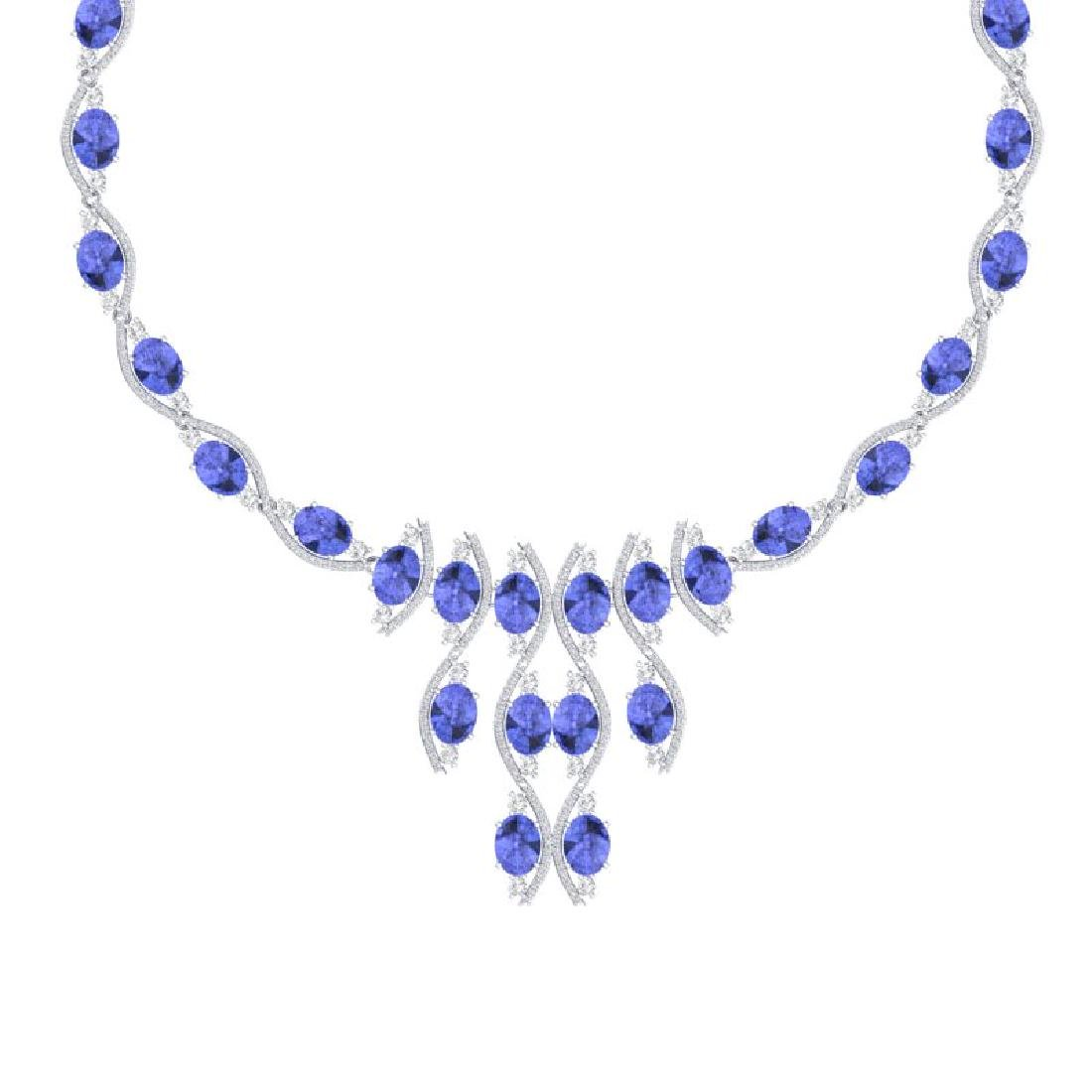 65.60 CTW Royalty Tanzanite & VS Diamond Necklace 18K - 2