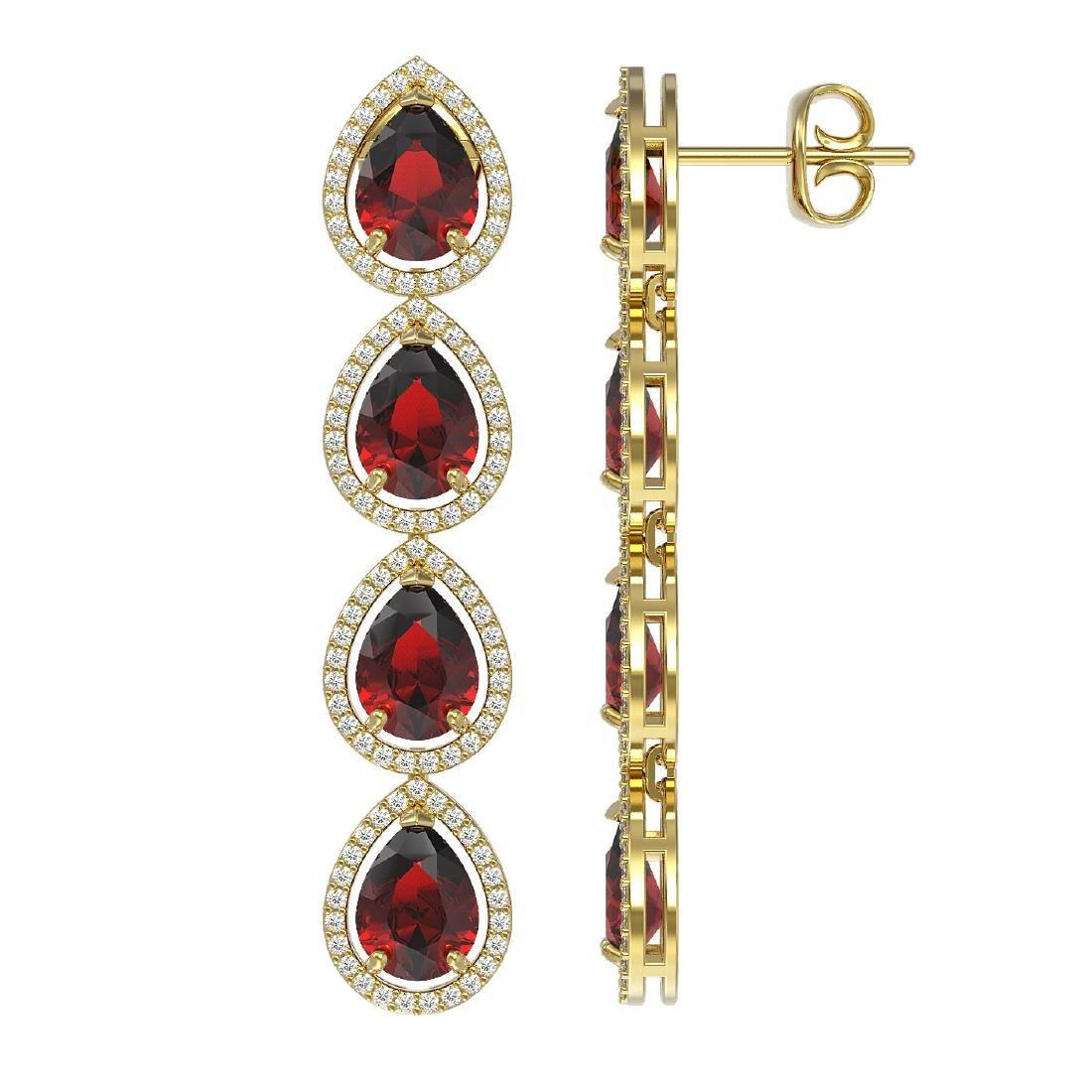 9.25 CTW Garnet & Diamond Halo Earrings 10K Yellow Gold - 2