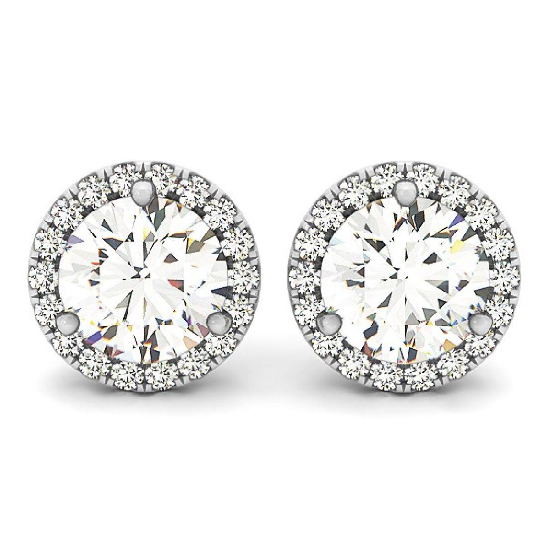 2.75 CTW Diamond Solitaire Earrings VS/SI Certified 14K - 2