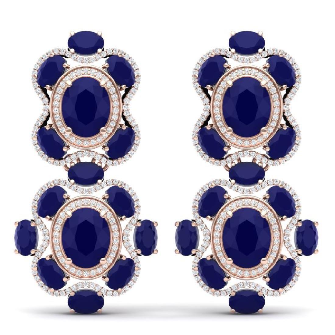 33.5 CTW Royalty Sapphire & VS Diamond Earrings 18K