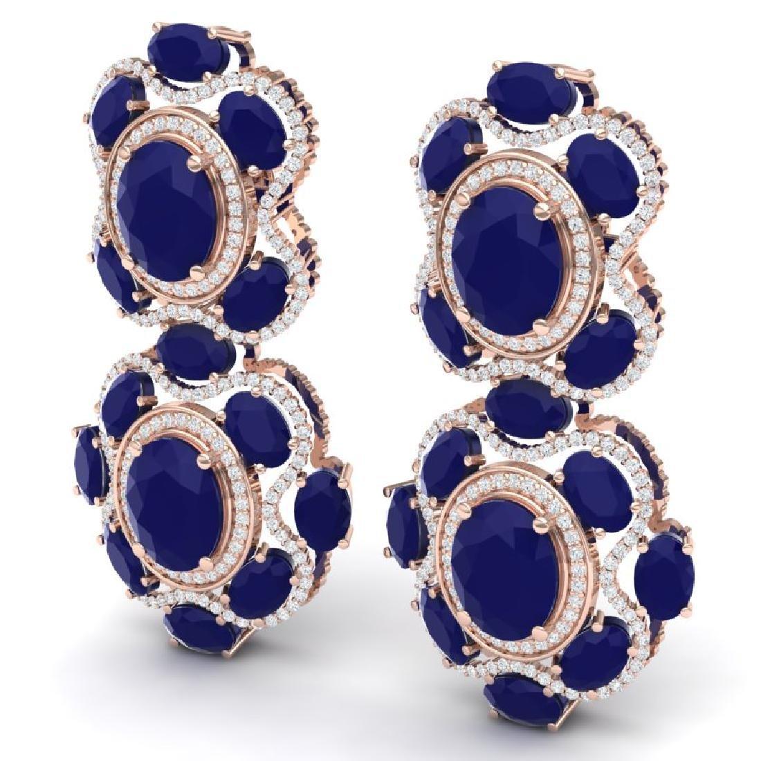 33.5 CTW Royalty Sapphire & VS Diamond Earrings 18K - 2