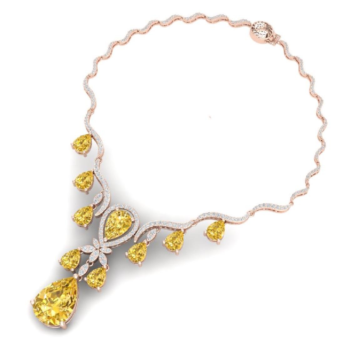 34.70 CTW Royalty Canary Citrine & VS Diamond Necklace - 3