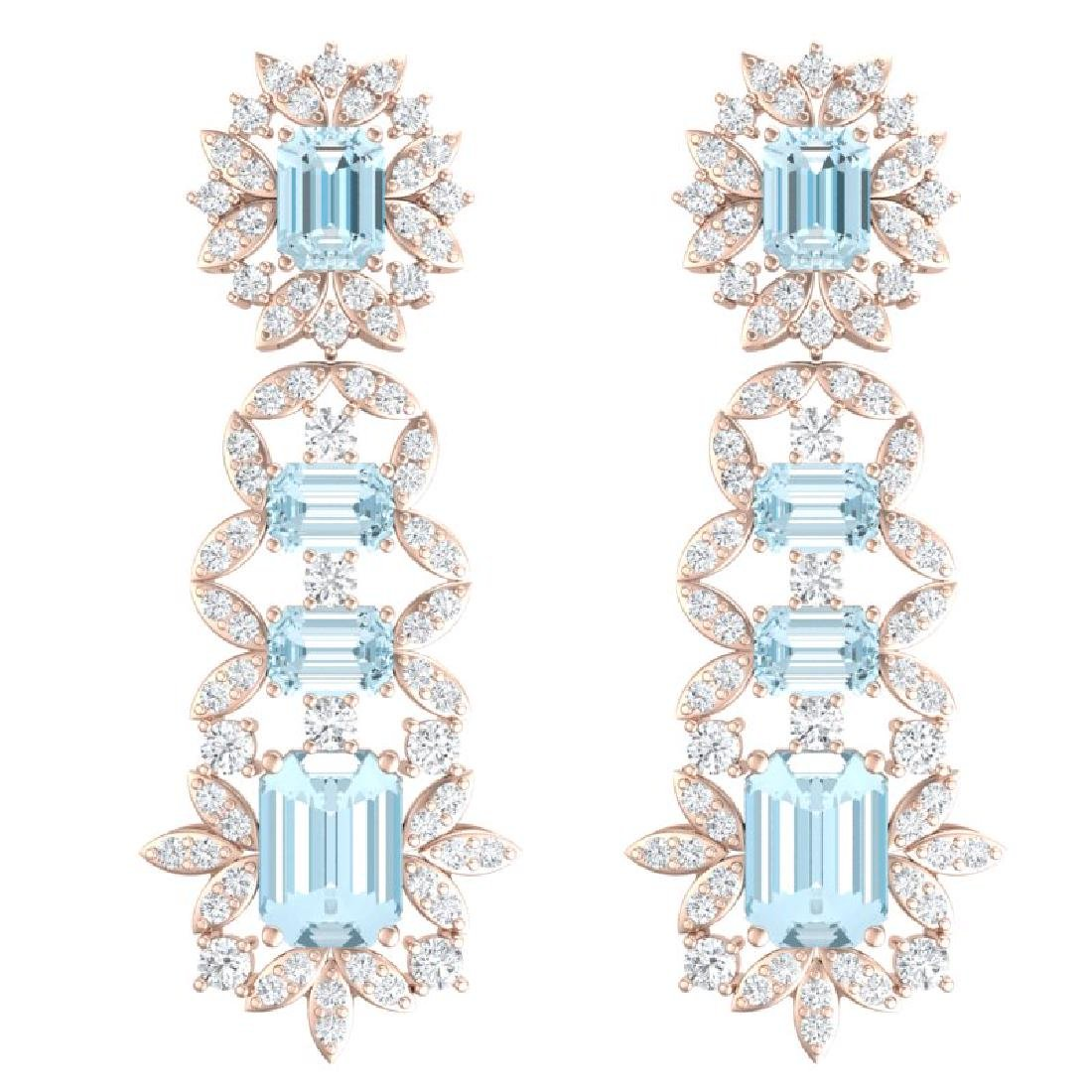 33.36 CTW Royalty Sky Topaz & VS Diamond Earrings 18K