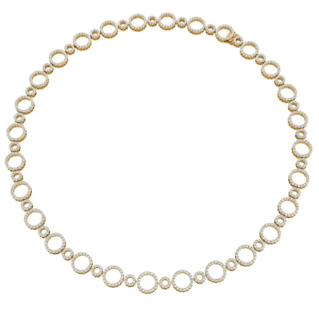 10 CTW Certified SI/I Diamond Halo Necklace 18K Yellow - 3