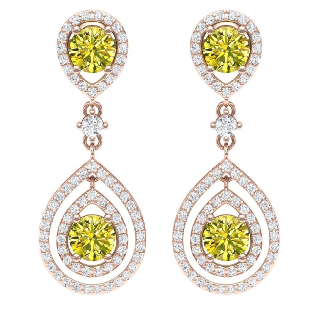 3.9 CTW Fancy Yellow SI Diamond Earrings 18K Rose Gold
