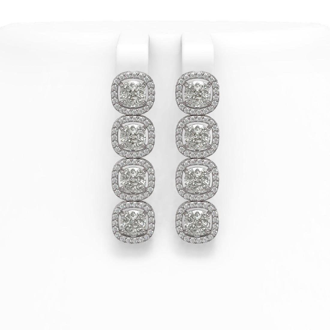 6.01 CTW Cushion Diamond Designer Earrings 18K White