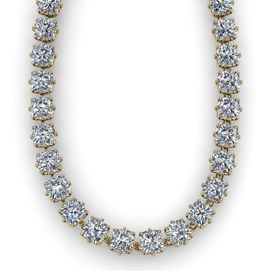 28 CTW Oval Cut SI Certified Diamond Necklace 18K - 2