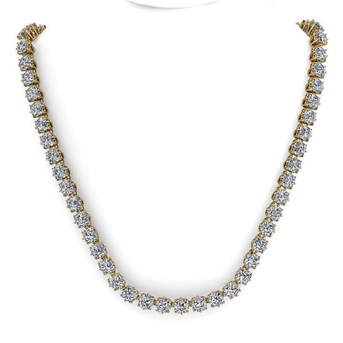 28 CTW Oval Cut SI Certified Diamond Necklace 18K - 3