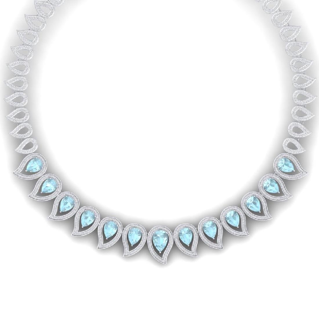 34.96 CTW Royalty Sky Topaz & VS Diamond Necklace 18K