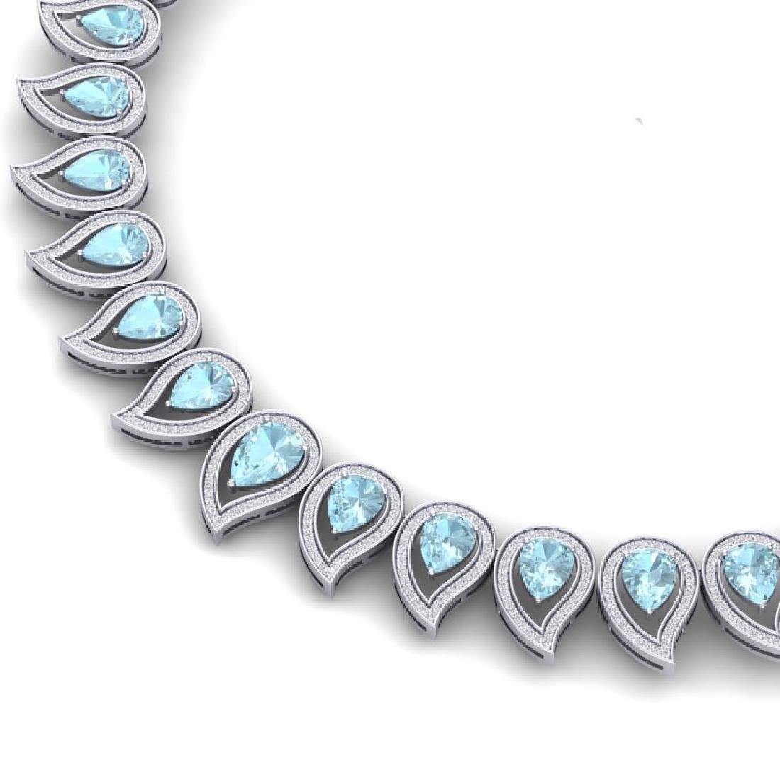 34.96 CTW Royalty Sky Topaz & VS Diamond Necklace 18K - 2