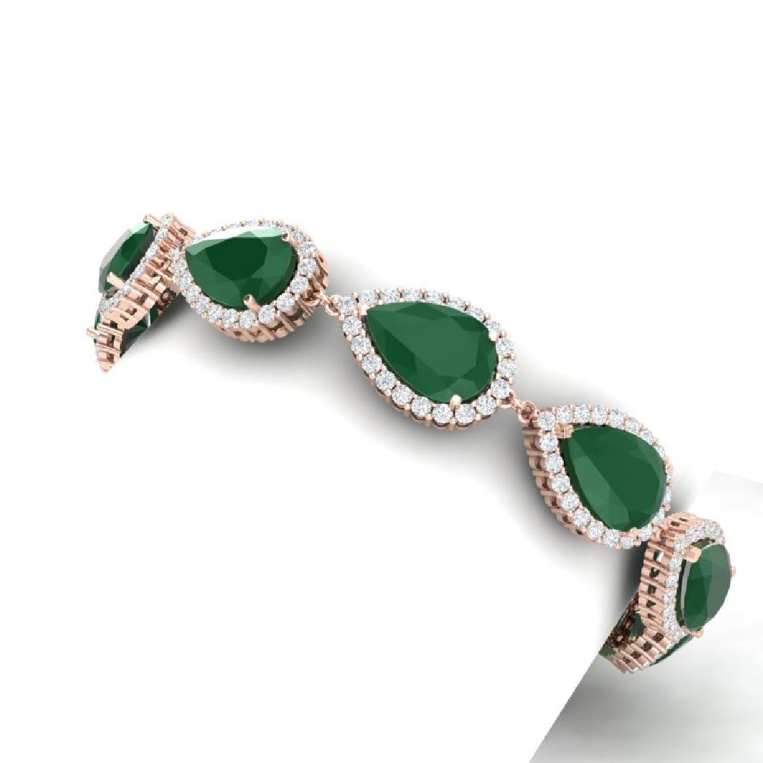 42 CTW Royalty Emerald & VS Diamond Bracelet 18K Rose