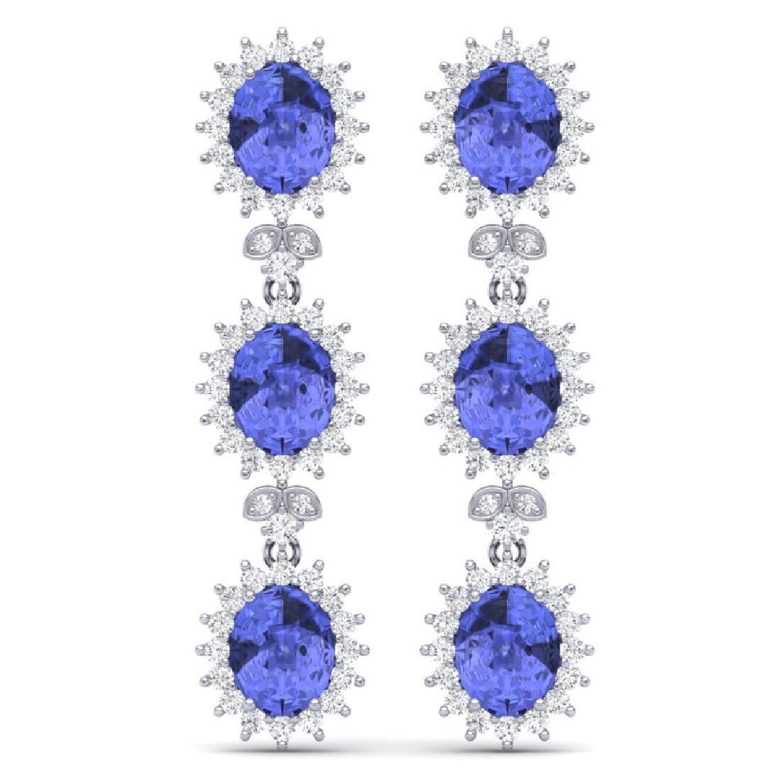 25.36 CTW Royalty Tanzanite & VS Diamond Earrings 18K