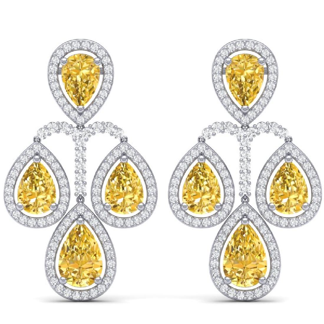 27.85 CTW Royalty Canary Citrine & VS Diamond Earrings