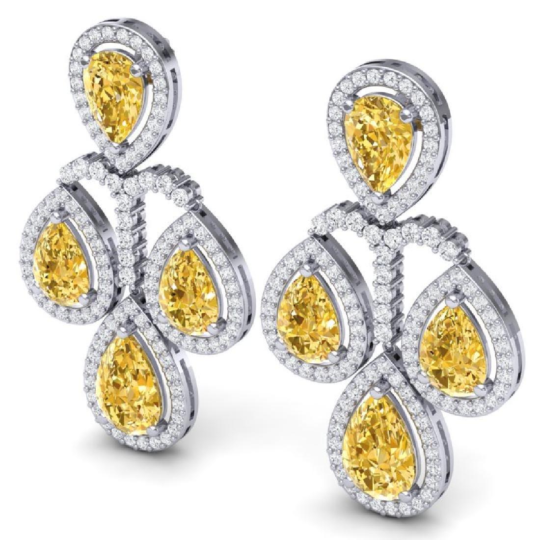 27.85 CTW Royalty Canary Citrine & VS Diamond Earrings - 2