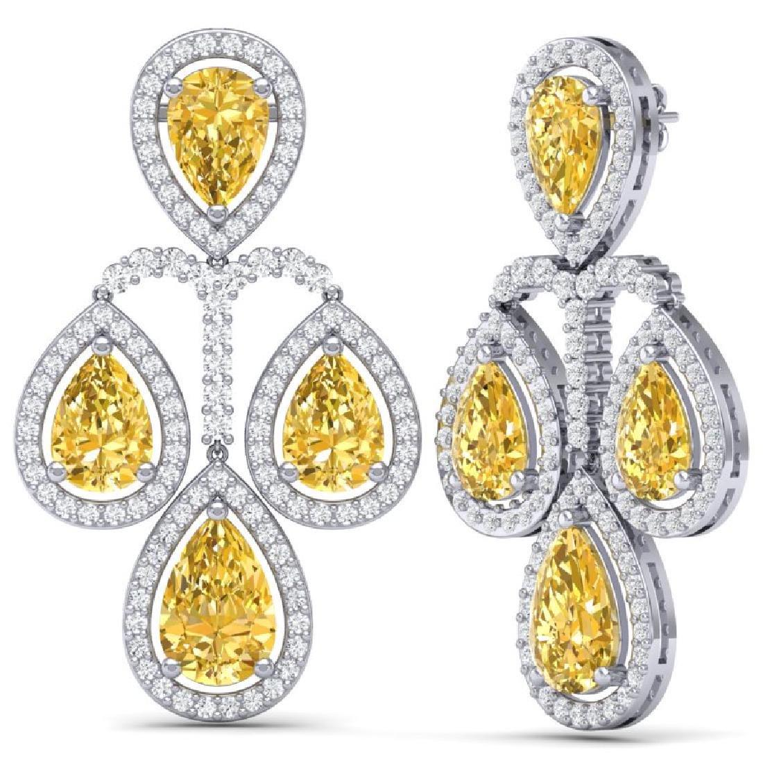 27.85 CTW Royalty Canary Citrine & VS Diamond Earrings - 3