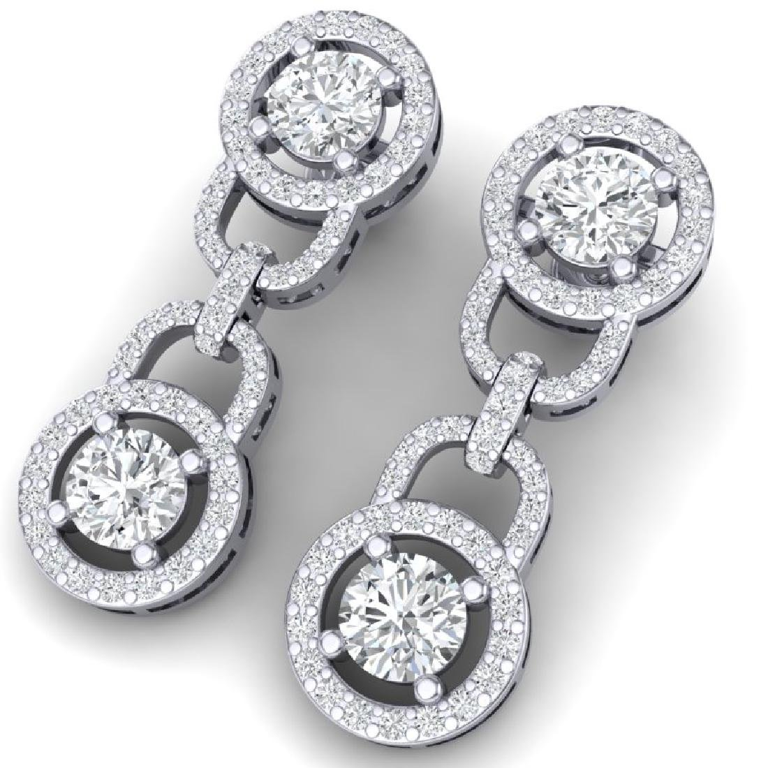 4 CTW Certified SI/I Diamond Halo Earrings 18K White