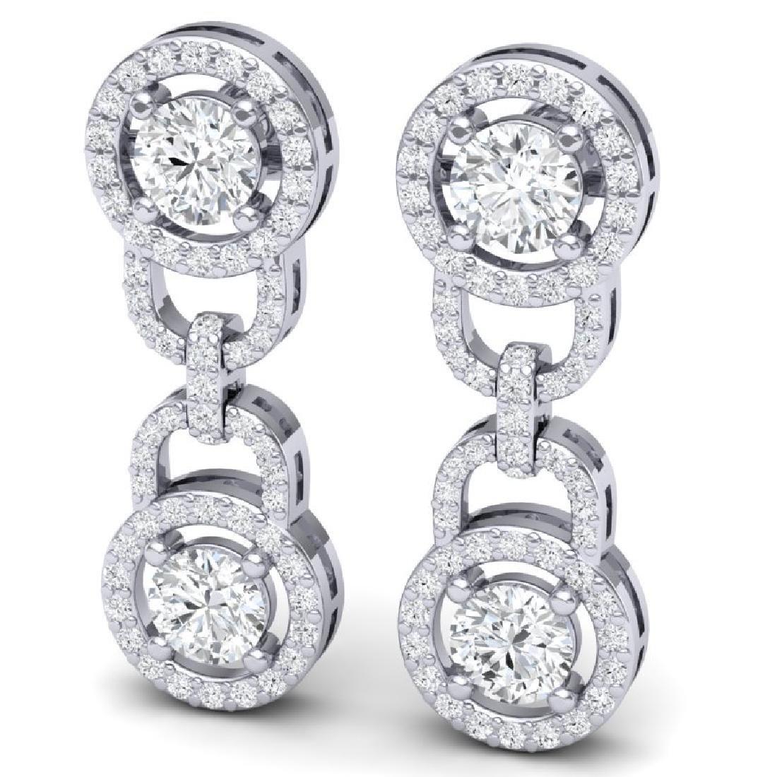 4 CTW Certified SI/I Diamond Halo Earrings 18K White - 2