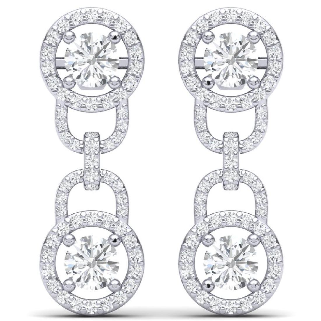 4 CTW Certified SI/I Diamond Halo Earrings 18K White - 3
