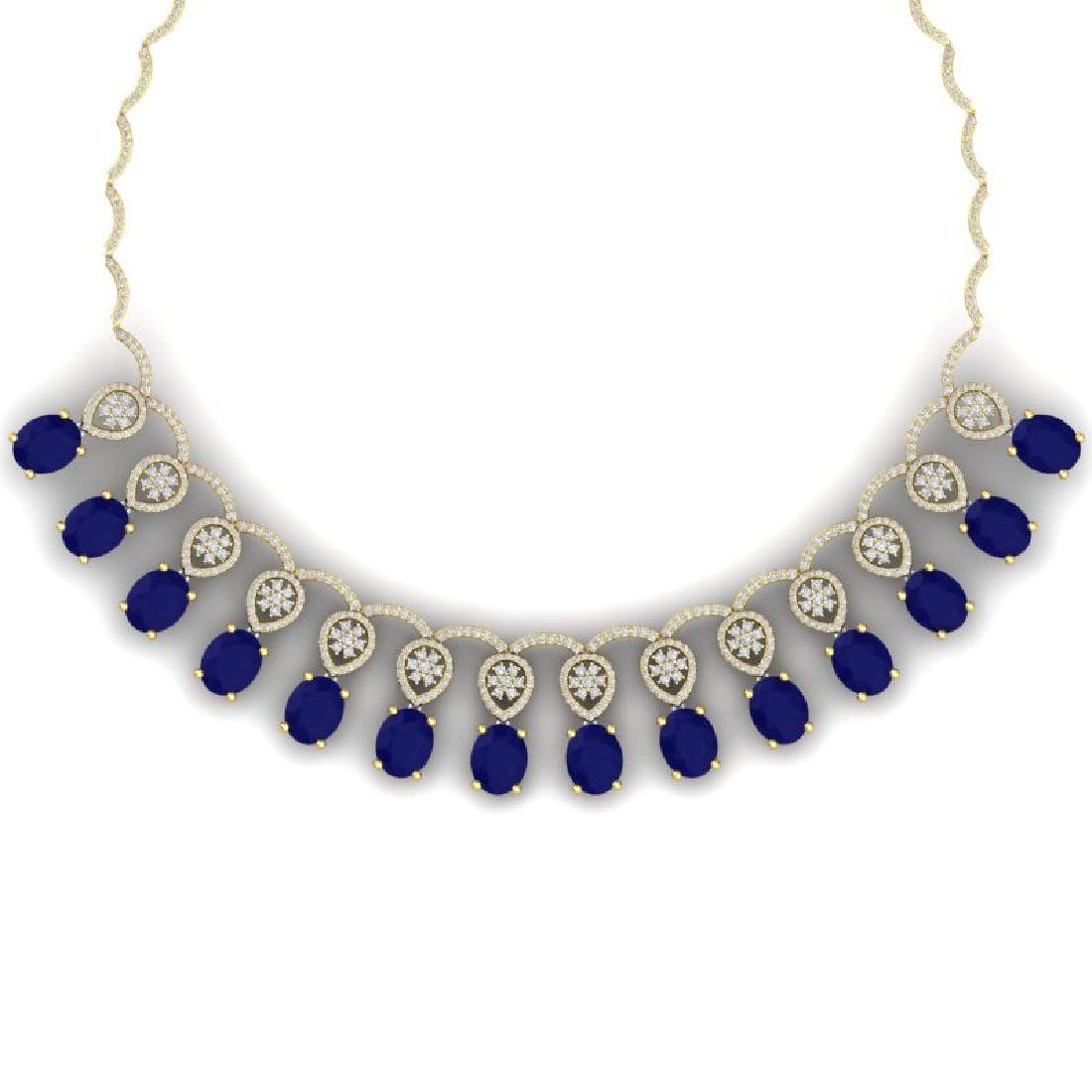 54.05 CTW Royalty Sapphire & VS Diamond Necklace 18K