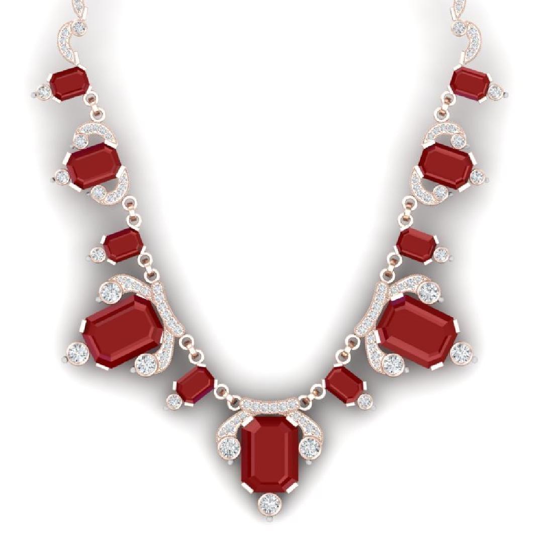 75.21 CTW Royalty Ruby & VS Diamond Necklace 18K Rose