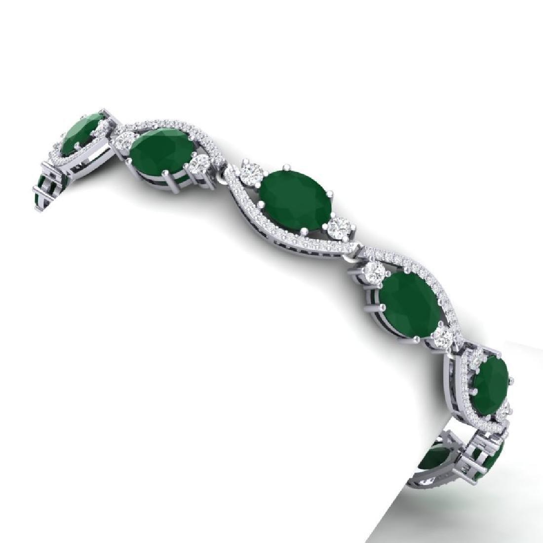 22.15 CTW Royalty Emerald & VS Diamond Bracelet 18K
